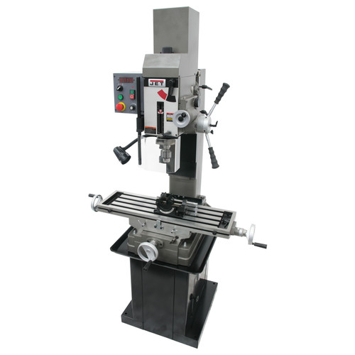 JET 351165 JMD-45VSPFT Variable Speed Geared Head Square Column Mill Drill with Power Downfeed, Newall DP500 2-Axis DRO and X-Axis Powerfeed