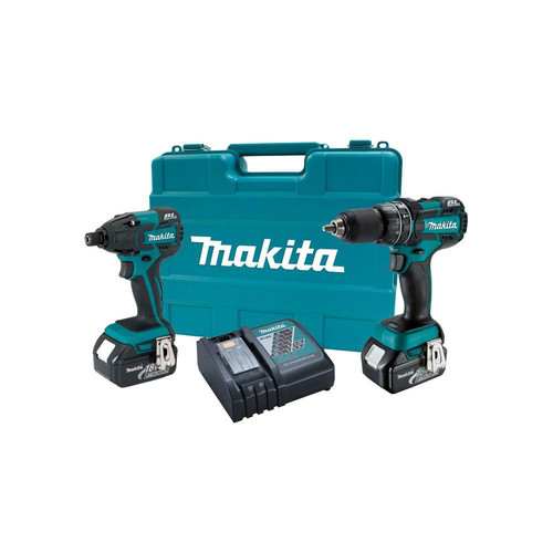 Factory Reconditioned Makita XT248-R LXT 18V Cordless Lithium-Ion Brushless 1/2 in. Hammer Drill and Impact Driver Combo Kit
