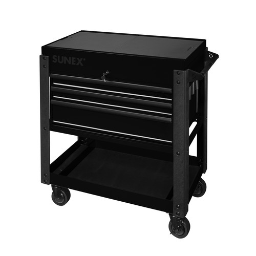 Sunex 8035XTBK 3 Drawer Slide Top Utility Cart with Power Strip (Black)