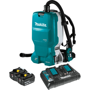 Makita XCV18PTX 18V X2 (36V) LXT Brushless Lithium-Ion Cordless 1.6 Gallon HEPA Filter Backpack Dry Dust Extractor AWS Capable Kit (5 Ah)