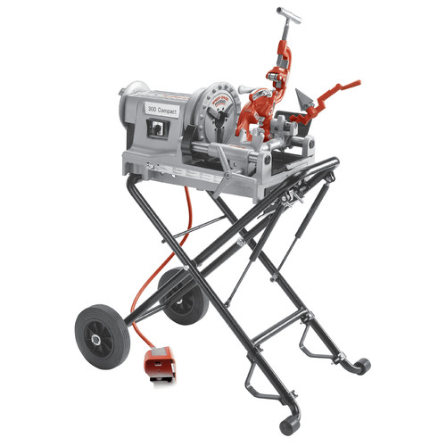 Ridgid 67182 1/2 in. - 2 in. Hammer Chuck Compact Threading Machine with Folding Wheel Stand image number 0