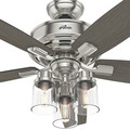 Hunter 54190 52 in. Bennett Brushed Nickel Ceiling Fan with Light and Handheld Remote image number 7
