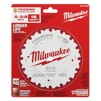 Milwaukee 48-40-0522 5-3/8 in. 16T Framing Circular Saw Blade image number 1