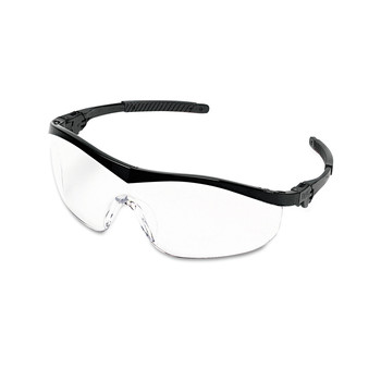 MCR Safety ST110 12-Piece/Box Storm Black Nylon Frame Wraparound Safety Glasses - Clear Lens
