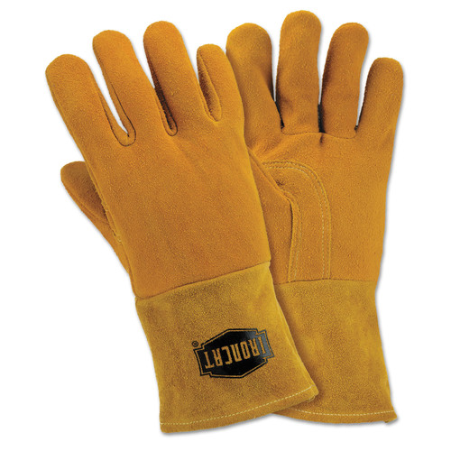 West Chester 6030-L LG Insulated Top Grain Reverse Deerskin Mig Welding Gloves (Orange/Tan) image number 0