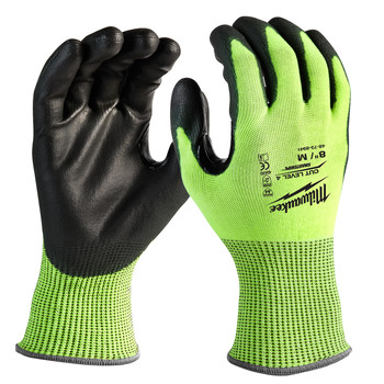 Milwaukee 48-73-8941B 12-Piece Cut Level 4 High Visibility Polyurethane Dipped Gloves - Medium
