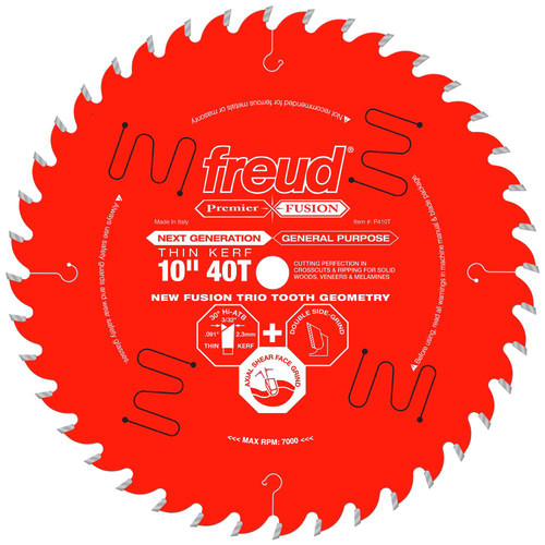 Freud P410T 10 in. 40 Tooth Thin Kerf Premier Fusion Saw Blade