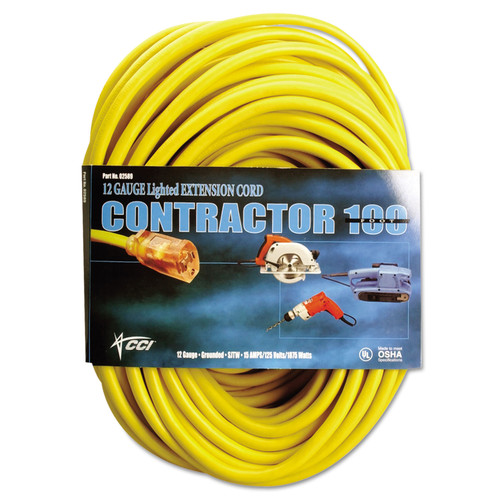 CCI 025880002 50 ft. Vinyl 15 Amp Outdoor Extension Cord (Yellow) image number 0