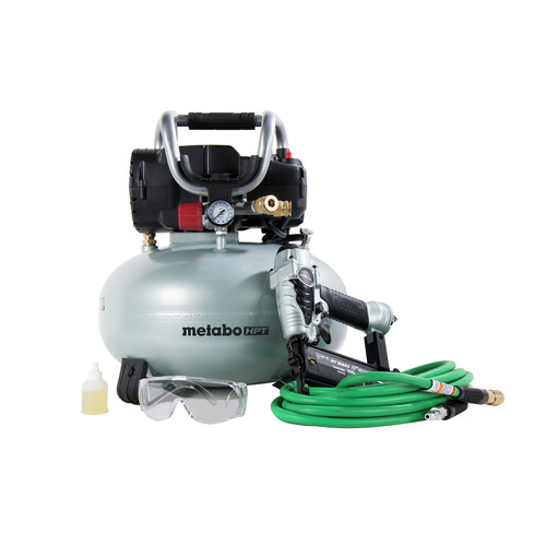 Metabo HPT KNT50ABM 18 Gauge Brad Nailer and 1 HP 6 Gallon Portable Pancake Air Compressor Combo Kit image number 0
