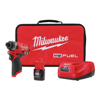 Milwaukee 2553-21 M12 FUEL CP Brushless Lithium-Ion Hex 1/4 in. Cordless Impact Driver Kit (2 Ah)