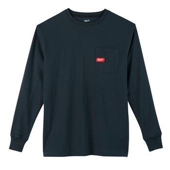 Milwaukee 602BL-3X Heavy Duty Long Sleeve Pocket Tee Shirt - Navy Blue, 3X