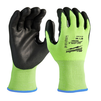 Milwaukee 48-73-8921B 12-Piece Cut Level 2 High Visibility Polyurethane Dipped Gloves - Medium