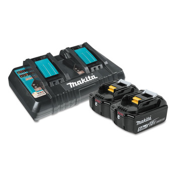 Makita BL1850B2DC2 18V LXT 5 Ah Lithium-Ion Battery (2-Pack) and Dual Port Charger Kit