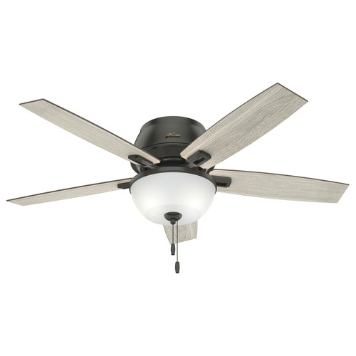 Hunter 50274 52 in. Donegan Noble Bronze Low Profile Ceiling Fan with Light Kit and Pull Chain image number 0