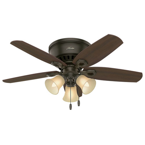 Hunter 51091 42 in. Builder Low Profile New Bronze Ceiling Fan with Light image number 0