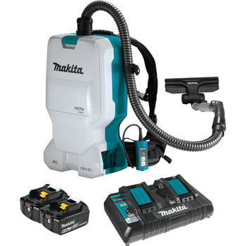 Makita XCV17PG 18V X2 (36V) LXT Brushless Lithium-Ion 1.6 Gallon Cordless HEPA Filter Backpack Dry Vaccum Kit (6 Ah)