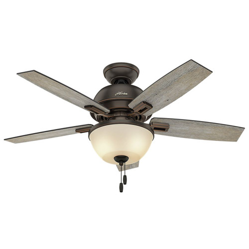 Hunter 52225 44 in. Donegan Onyx Bengal Ceiling Fan with Light image number 0