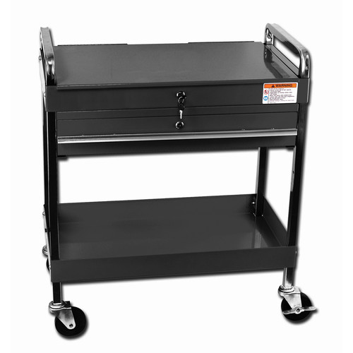 Sunex 8013ABK Service Cart with Locking Top and Drawer (Black)