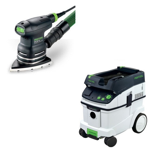 Festool DTS 400 EQ Delta Orbital Finish Sander with CT 36 AC 9.5 Gallon Mobile Dust Extractor