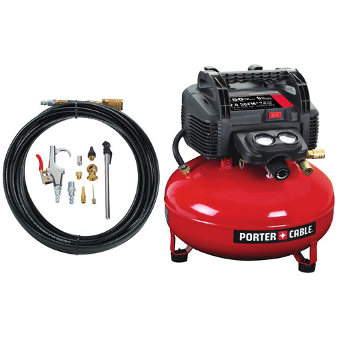 Porter-Cable C2002-WKR | 0.8 HP 6 Gallon Oil-Free Pancake Air Compressor /w 13 Piece Hose and Accessory Kit | Tyler Tool