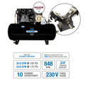 Industrial Air IH9969910 460V 10 HP 120 Gallon Oil-Lube Horizontal Air Compressor with Baldor Motor image number 1