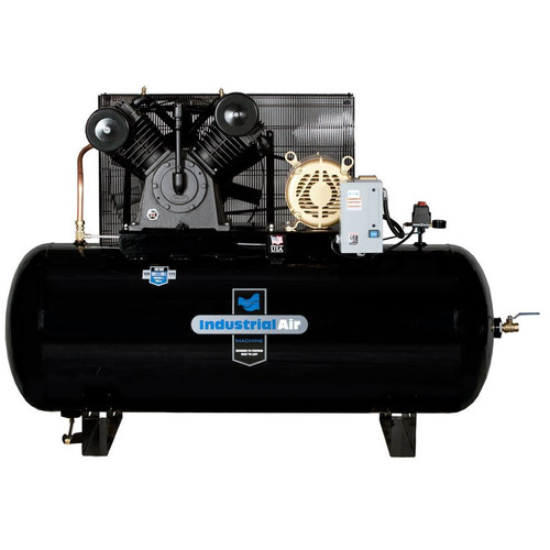 Industrial Air IH9969910 460V 10 HP 120 Gallon Oil-Lube Horizontal Air Compressor with Baldor Motor image number 0