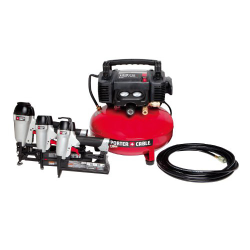 Factory Reconditioned Porter-Cable HP3PAKR 2-1/2 in. Finish Nailer, 1-3/8 in. Brad Nailer, 1 in. Stapler and Compressor Combo Kit