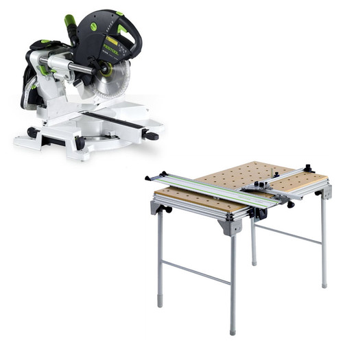 Festool KS 120 EB Kapex Sliding Compound Miter Saw plus Multi-Function Work Table