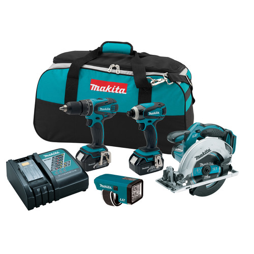 Factory Reconditioned Makita LXT437-R LXT 18V Cordless Lithium-Ion 4-Tool Combo Kit
