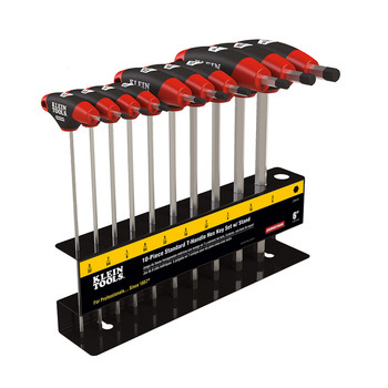 Klein Tools JTH610E 10-Piece SAE 6 in. Blade T-Handle Hex Key Set with Stand
