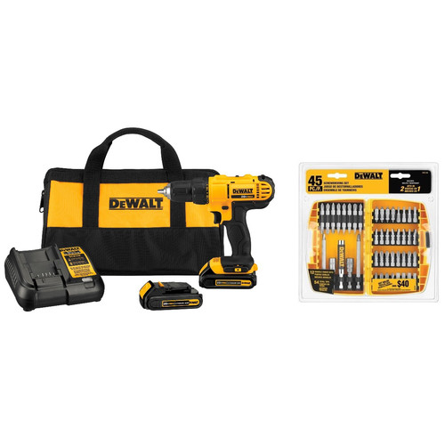 Dewalt DCD771C2-2166-BNDL 20V MAX Cordless Lithium-Ion 1/2 in. Compact Drill Driver Kit with 45-Piece Screwdriving Bit Set