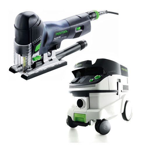 Festool PS 420 EBQ Carvex Barrel Grip Jigsaw with CT 26 E 6.9 Gallon HEPA Mobile Dust Extractor