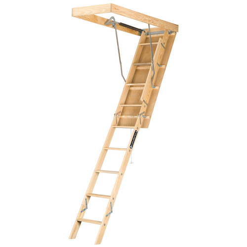 Louisville L224P Premium 250 lbs. Load Capacity 22-1/2 in. x 54 in. Open Ceiling Wood Attic Ladder for 10 ft. Ceiling Heights image number 0