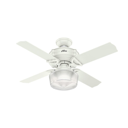 Hunter 52260 44 in. Brunswick Fresh White Ceiling Fan with Light and Handheld Remote