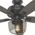 Hunter 54187 52 in. Bennett Matte Black Ceiling Fan with Light and Handheld Remote image number 7