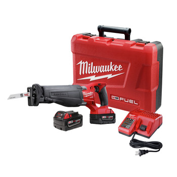 Milwaukee 2720-22 M18 FUEL Cordless Sawzall Reciprocating Saw Kit with (2) 5.0 Ah Batteries, Charger and Case