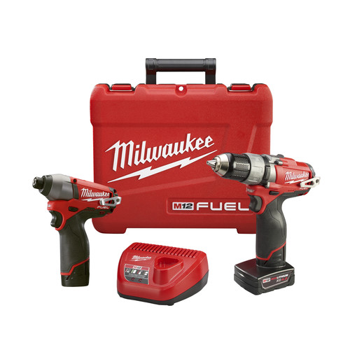 Factory Reconditioned Milwaukee 2594-82 M12 FUEL 12V Cordless Lithium-Ion 1/2 in. Drill Driver & Impact Driver Combo Kit