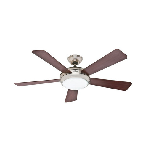 Hunter 59052 52 in. Palermo Brushed Nickel Ceiling Fan with Light with Handheld Remote