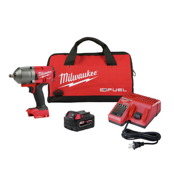 Milwaukee 2863-21P M18 FUEL Brushless Lithium-Ion High Torque 1/2 in. Cordless Impact Wrench Kit with Friction Ring and ONE-KEY (5 Ah)