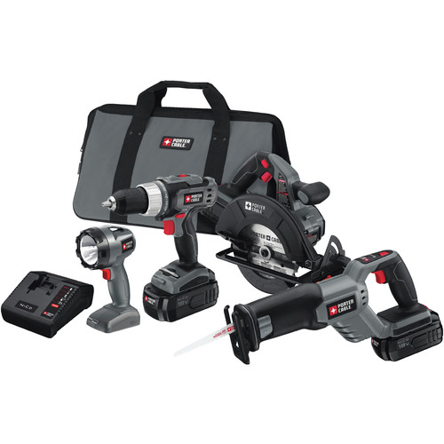 Factory Reconditioned Porter-Cable PC418C-2R Tradesman 18V Cordless 4-Tool Combo Kit