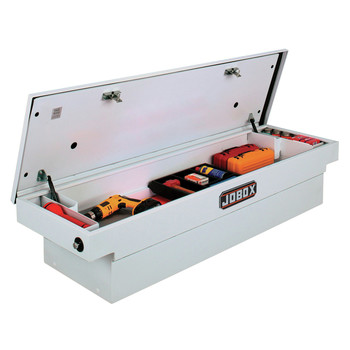 JOBOX PSC1458000 Steel Single Lid Compact Crossover Truck Box (White)