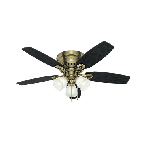 Hunter 52085 46 in. Hatherton Antique Brass Ceiling Fan with Light