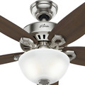 Hunter 52219 42 in. Builder Small Room Brushed Nickel Ceiling Fan with Light image number 4