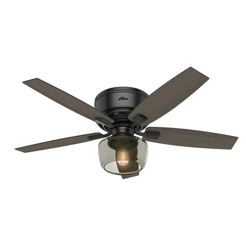 Hunter 53393 52 in. Bennett Matte Black Ceiling Fan with Light and Handheld Remote image number 0