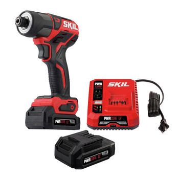 Skil ID574402 PWRCore 12 12V Brushless 1/4 in. Hex Impact Driver Kit with (2) 2 Ah Lithium-Ion Batteries, PWRassist USB and PWRJUMP Charger image number 1