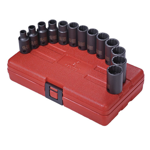 Sunex 3338 13-Piece 3/8 in. Drive 12-Point Metric Semi-Deep Impact Socket Set image number 0