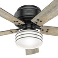 Hunter 55080 52 in. Cedar Key OD LP Matte Black Ceiling Fan with Light and Integrated Control System-Handheld image number 6