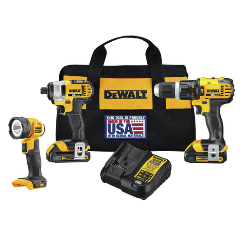 Factory Reconditioned Dewalt DCK384C2R 20V MAX Lithium-Ion Compact 3-Tool Combo Kit