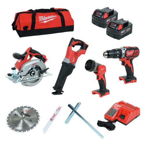 Milwaukee 2694-24 M18 18V Cordless Lithium-Ion 4-Tool Combo Kit
