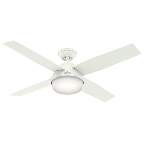 Hunter 59252 52 in. Dempsey Fresh White Ceiling Fan with Light and Remote